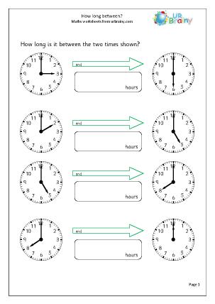Preview of worksheet How long between?