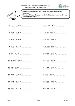 Preview of worksheet Addition and subtraction of decimals (4)