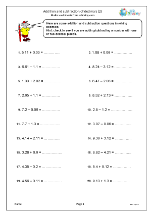 Preview of worksheet Addition and subtraction of decimals (2)