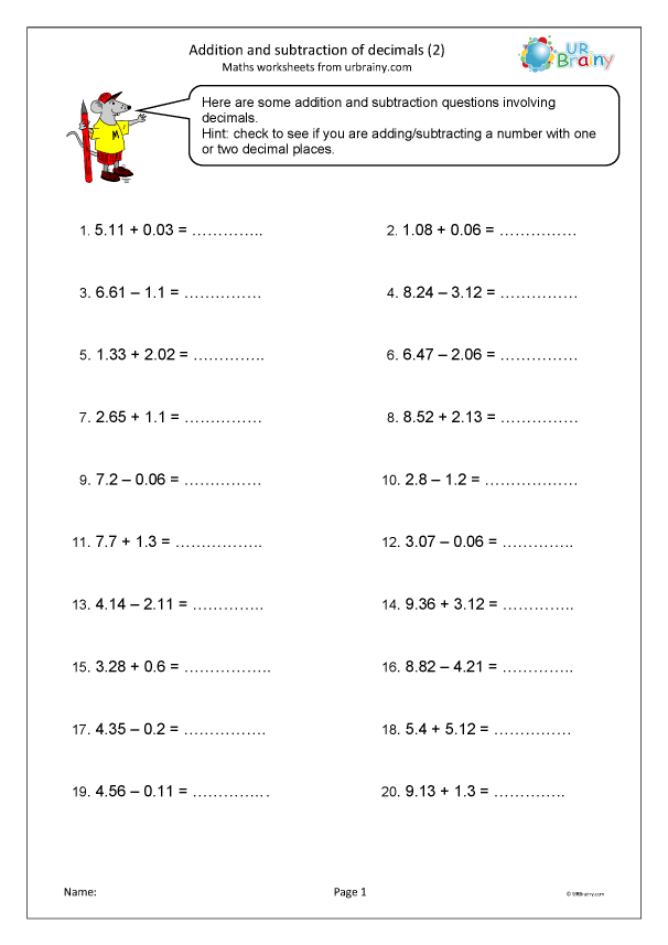 Preview of 'Addition and subtraction of decimals (2)'