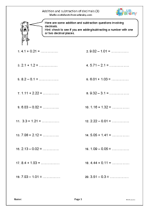Preview of worksheet Addition and subtraction of decimals (3)