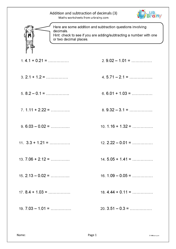 Preview of 'Addition and subtraction of decimals (3)'