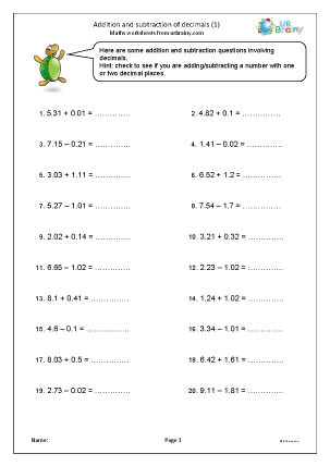 Preview of worksheet Addition and subtraction of decimals (1)
