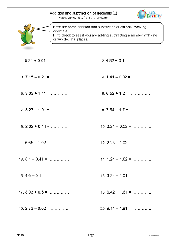 Preview of 'Addition and subtraction of decimals (1)'