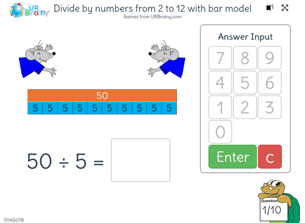 Preview of 'Divide by numbers from 2 to 12 with bar models'