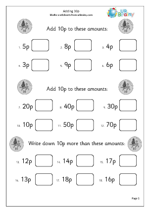 Preview of worksheet Adding 10p (2)