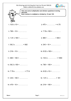 Preview of worksheet Multiplying and dividing decimals by 10 and 100 (4)