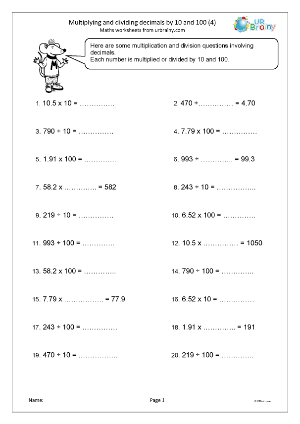 Preview of 'Multiplying and dividing decimals by 10 and 100 (4)'