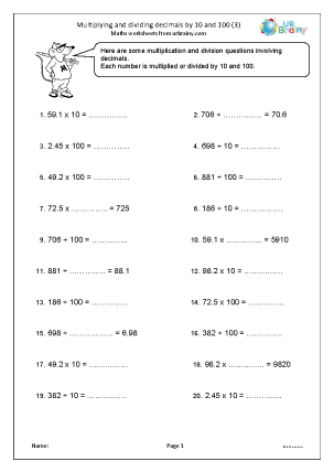 Preview of worksheet Multiplying and dividing decimals by 10 and 100 (3)
