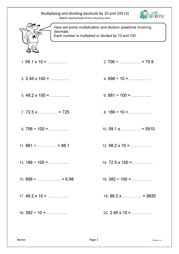 Preview of 'Multiplying and dividing decimals by 10 and 100 (3)'
