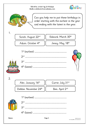 Preview of worksheet Months: ordering birthdays