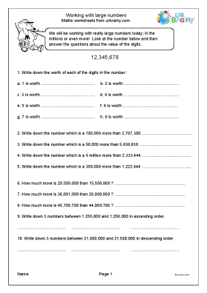 Preview of worksheet Working with large numbers