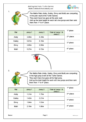Preview of worksheet Adding decimals: Turtle Games