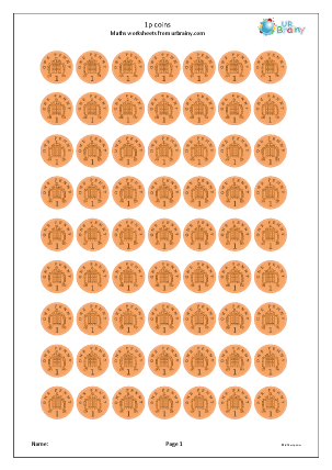 Preview of worksheet 1p coins