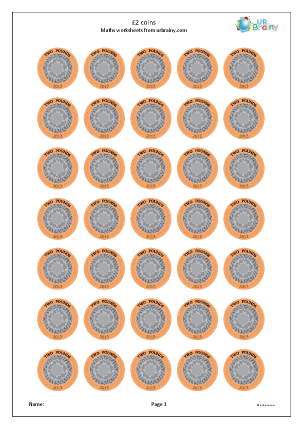 Preview of worksheet £2 coins
