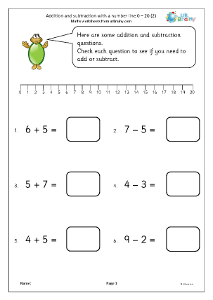 Preview of worksheet Addition and subtraction with a number line 0-20 (2)