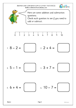 Preview of worksheet Addition and subtraction with a number line 0-10 (1)