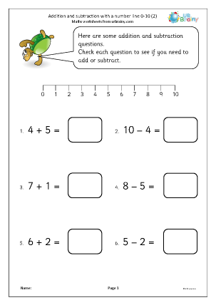 Preview of worksheet Addition and subtraction with a number line 0-10 (2)