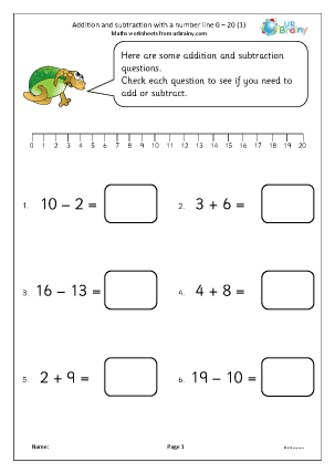 Preview of worksheet Addition and subtraction with a number line 0-20 (1)