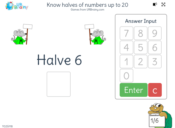 Preview of 'Know halves of numbers up to 20'