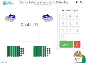 Preview of game Double 2-digit numbers (base 10 blocks)