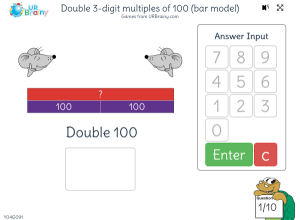 Preview of game Double 3-digit multiples of 100 (bar model)