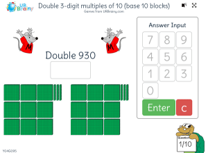 Preview of game Double 3-digit multiples of 10 (base 10 blocks)