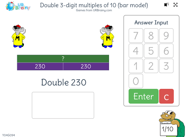Preview of 'Double 3-digit multiples of 10 (bar model)'