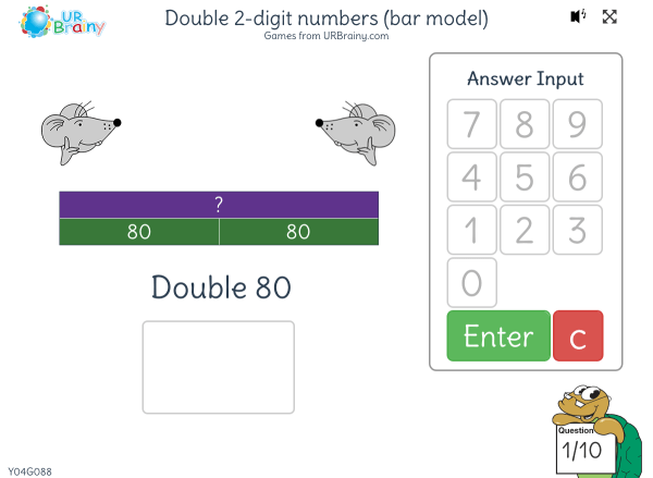 Preview of 'Double 2-digit numbers (bar model)'