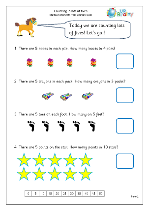 Preview of worksheet Counting in lots of 5