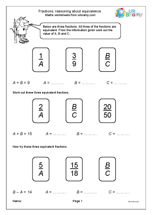 Preview of worksheet Reasoning about equivalence