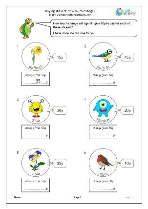 Preview of worksheet Buying stickers: how much change?