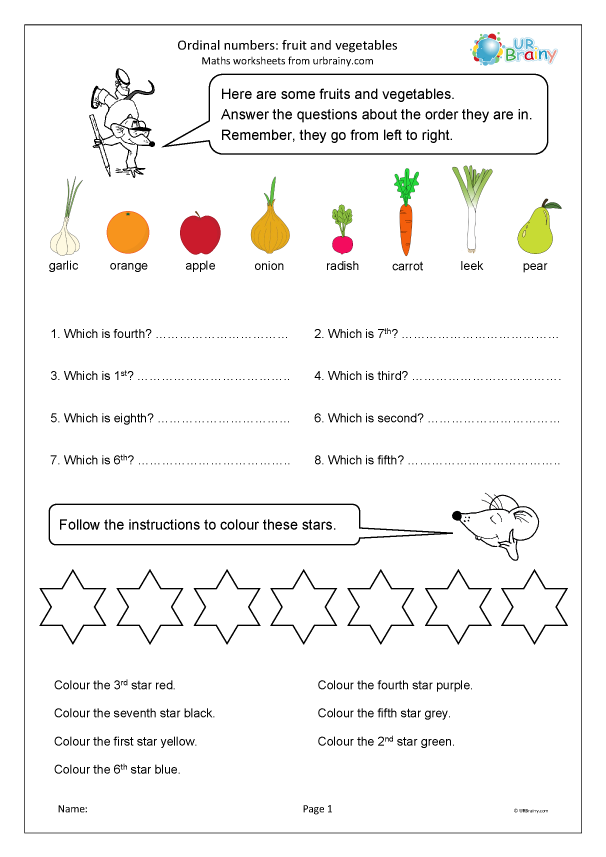 Preview of 'Ordinal numbers: fruit and vegetables'