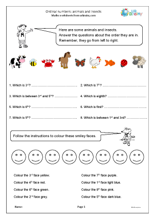 Preview of worksheet Ordinal numbers: animals and insects