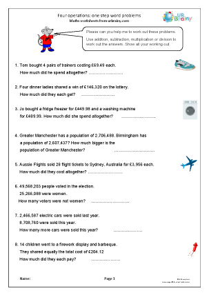 Preview of worksheet Four operations: word problems 1