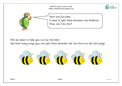 Preview of worksheet Partitioning numbers: bees