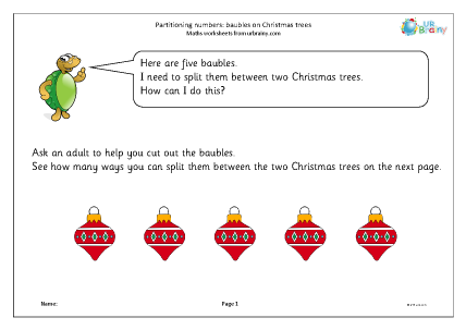 Preview of worksheet Partitioning numbers: baubles