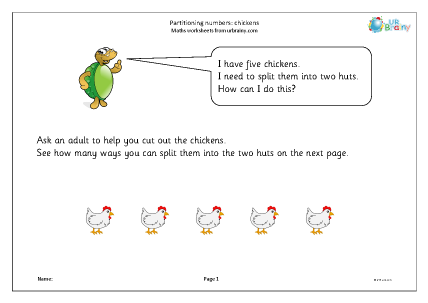 Preview of worksheet Partitioning numbers: chickens