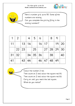 Number grids up to 50