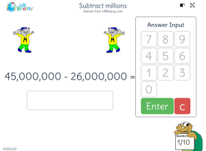 Preview of game Subtract millions