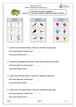Preview of worksheet Buying stickers