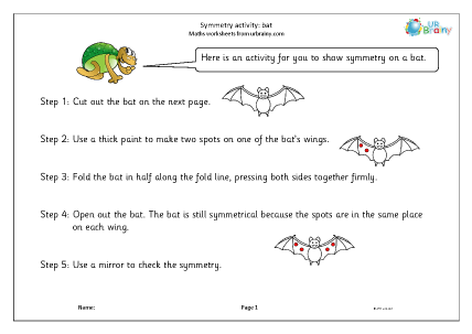 Preview of worksheet Symmetry activity: bat