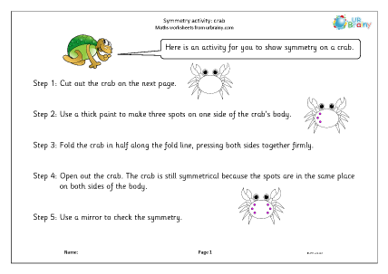 Preview of worksheet Symmetry activity: crab