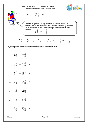 Preview of worksheet Nifty subtracting mixed numbers