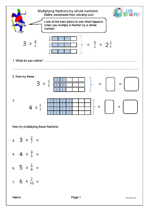 Preview of worksheet Multiplying fractions by whole numbers