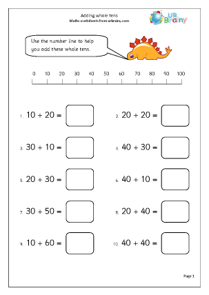 adding whole tens addition maths worksheets for year 1 age 5 6. Black Bedroom Furniture Sets. Home Design Ideas