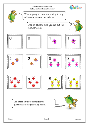 Preview of worksheet Addition: 0 to 5 monsters