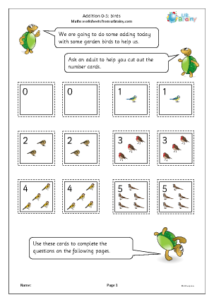 Preview of worksheet Addition: 0 to 5 birds