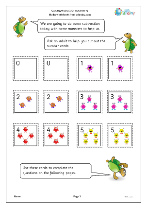 Preview of worksheet Subtraction: number cards: monsters