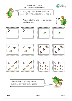 Preview of worksheet Subtraction: number cards: birds